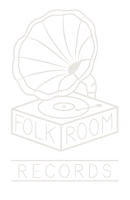 The logo of Folkroom Records - a hand-drawn gramaphone